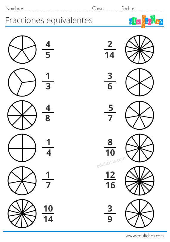 Ejercicios Fracciones Equivalentes Para Primaria Ejercicios De Fracciones Fracciones Para Primaria Actividades De Fracciones
