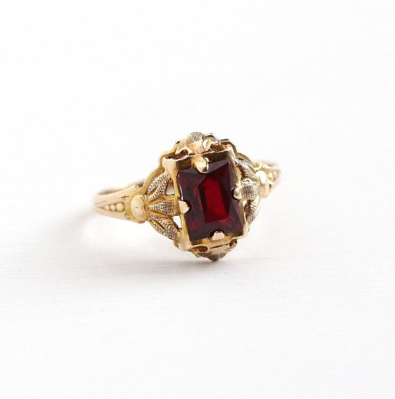 Sale Vintage 10k Yellow Gold Created Ruby Ring Size 4 1 2 Etsy Antique Rings Vintage Ruby Ring Vintage Jewelry