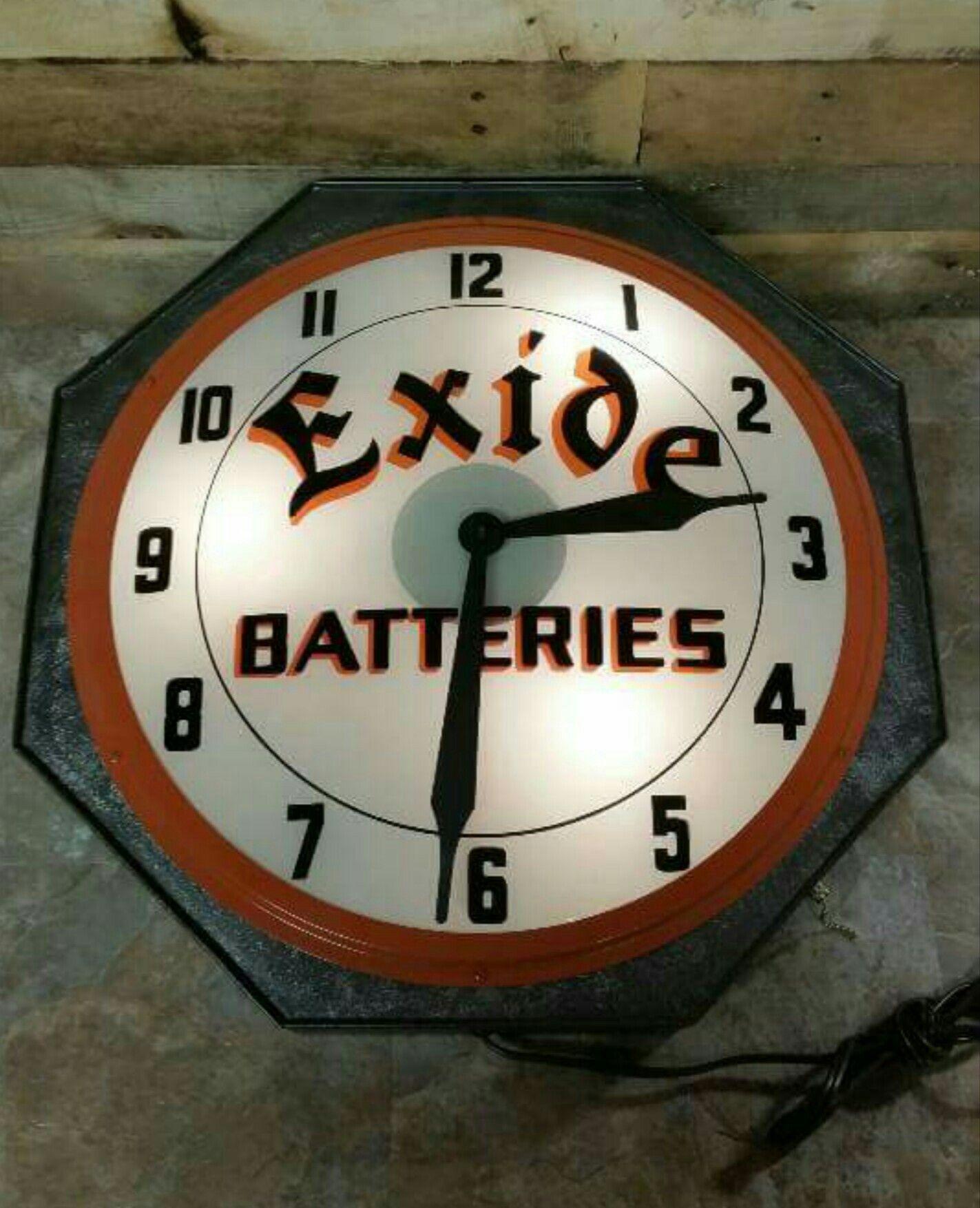 Original Exide Batteries Clock Clock, Vintage