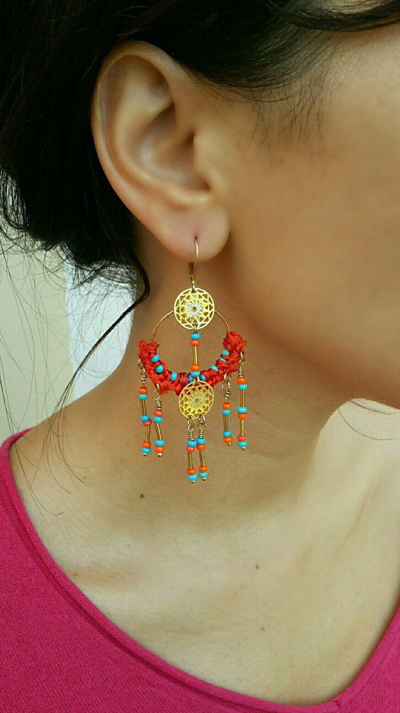 Boucles d'oreilles créoles Bohème chic *Couleurs Madras* : Boucles d'oreille par echappee-perles