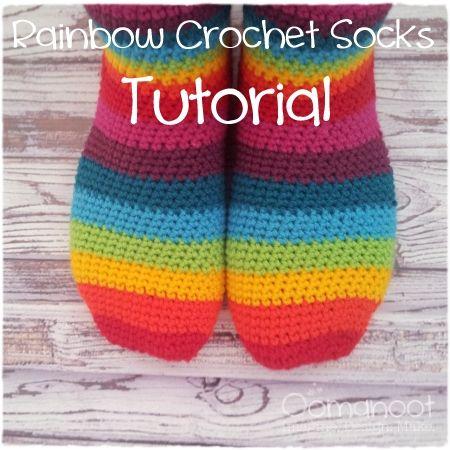 Rainbow Slipper Socks Tutorial #crochet #pattern #free | For the <3 ...
