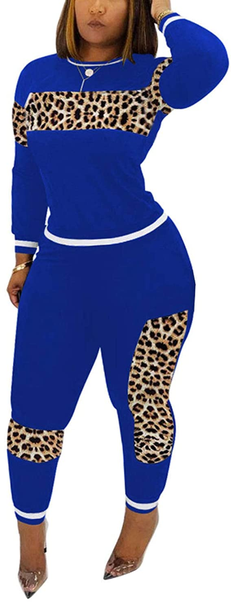 Women's Casual 2 Piece Outfit, Leopard Print Long Sleeve Shirt Top Bodycon Pants Set Tracksuit