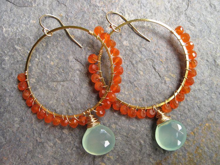 Aqua Chalcedony and Carnelian Wire Wrapped by NellBelleDesigns