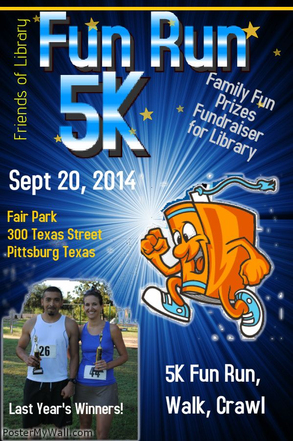Friends of the Library Annual 5K Fun Run Walk or Crawl on September 20, 2014.  Visit pccpl.blogspot.com for FORMS on top of right column. We hope to see you there! #fundraising #libraries