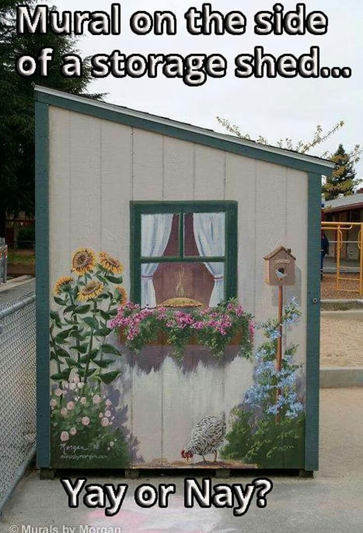 Storage shed murales jardin pinterest decoraciones for Jardineria exterior con guijarros