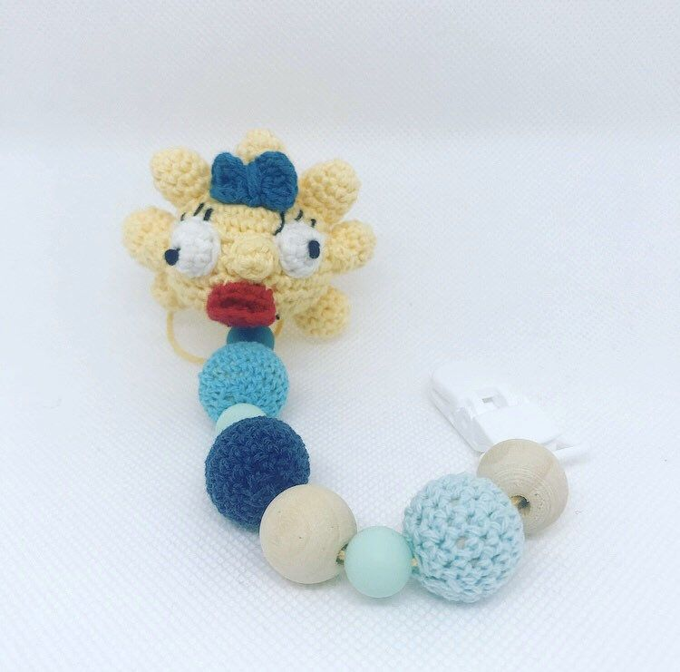 Pacifier holder inspired by Maggie Simpson crocheted-clip for …