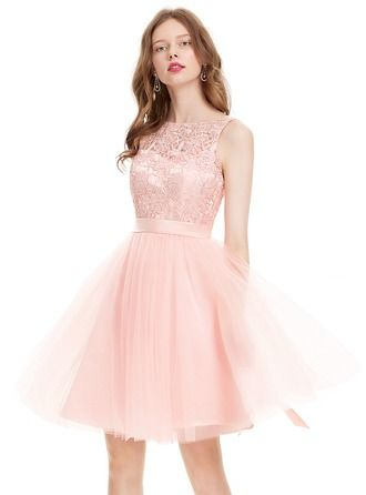 9edddf079d A-Line Princess Scoop Neck Knee-Length Tulle Homecoming Dress With ...