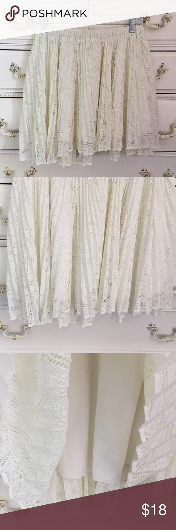 """Urban Outfitters Pins and Needles Lace Skirt Urban Outfitters Pins and Needles Lace Off-white Skirt. Lined underneath. Size large. Waist 28"""" Top to bottom 16"""" Excellent Condition! Let me know if you have any questions! ✅ I LOVE OFFERS ✅ 💜INSTAGRAM: @ocaputostyle Urban Outfitters Skirts"""