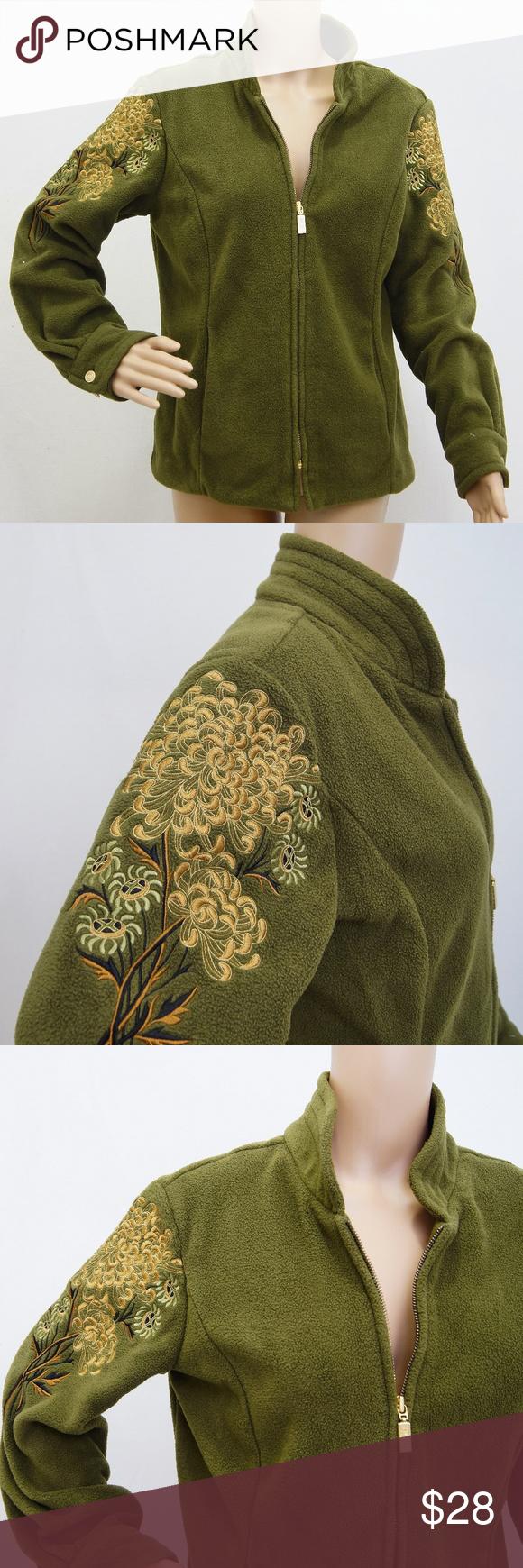 Bob Mackie Wearable Art Olive Green fleece jacket