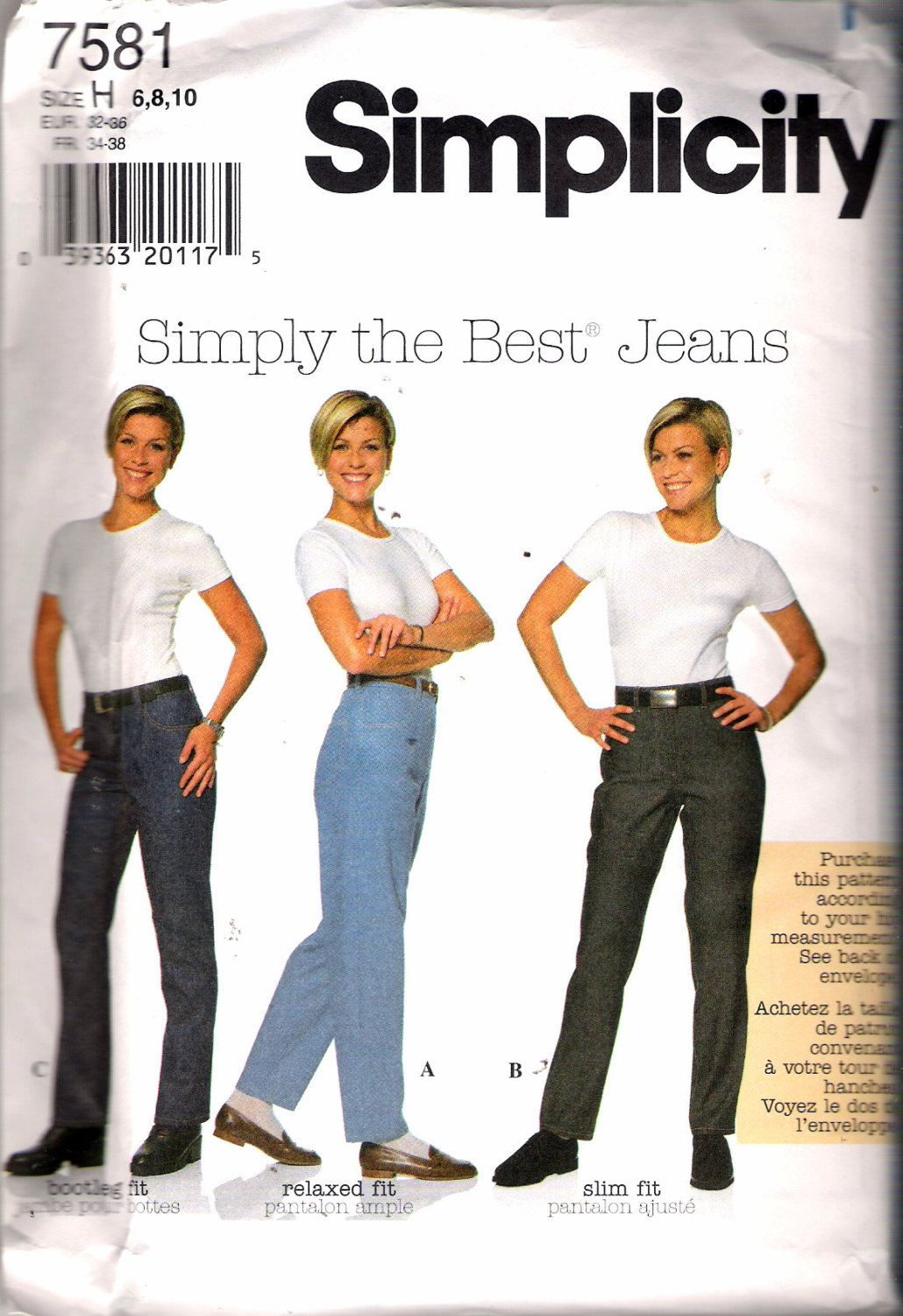 1997 Simplicity 7581 Simply the Best Jeans Sewing Pattern Size H 6 - 8 - 10  UNCUT by Recycledelic1 on Etsy