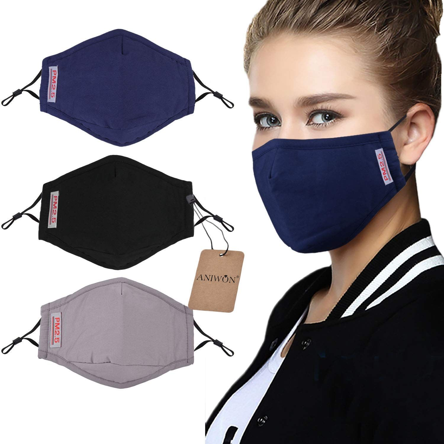 Dust Mask,Aniwon 3 Pack Anti Dust Pollution Mask with 6