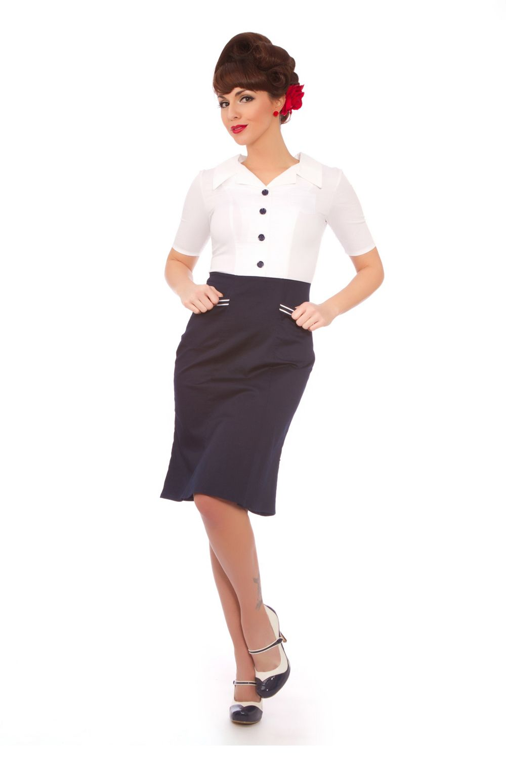 White u navy captain dress unique vintage homecoming dresses