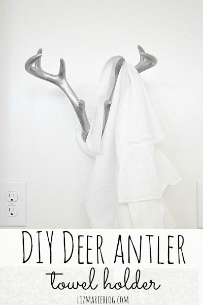 DIY Deer Antler Towel Holder - lizmarieblog.com