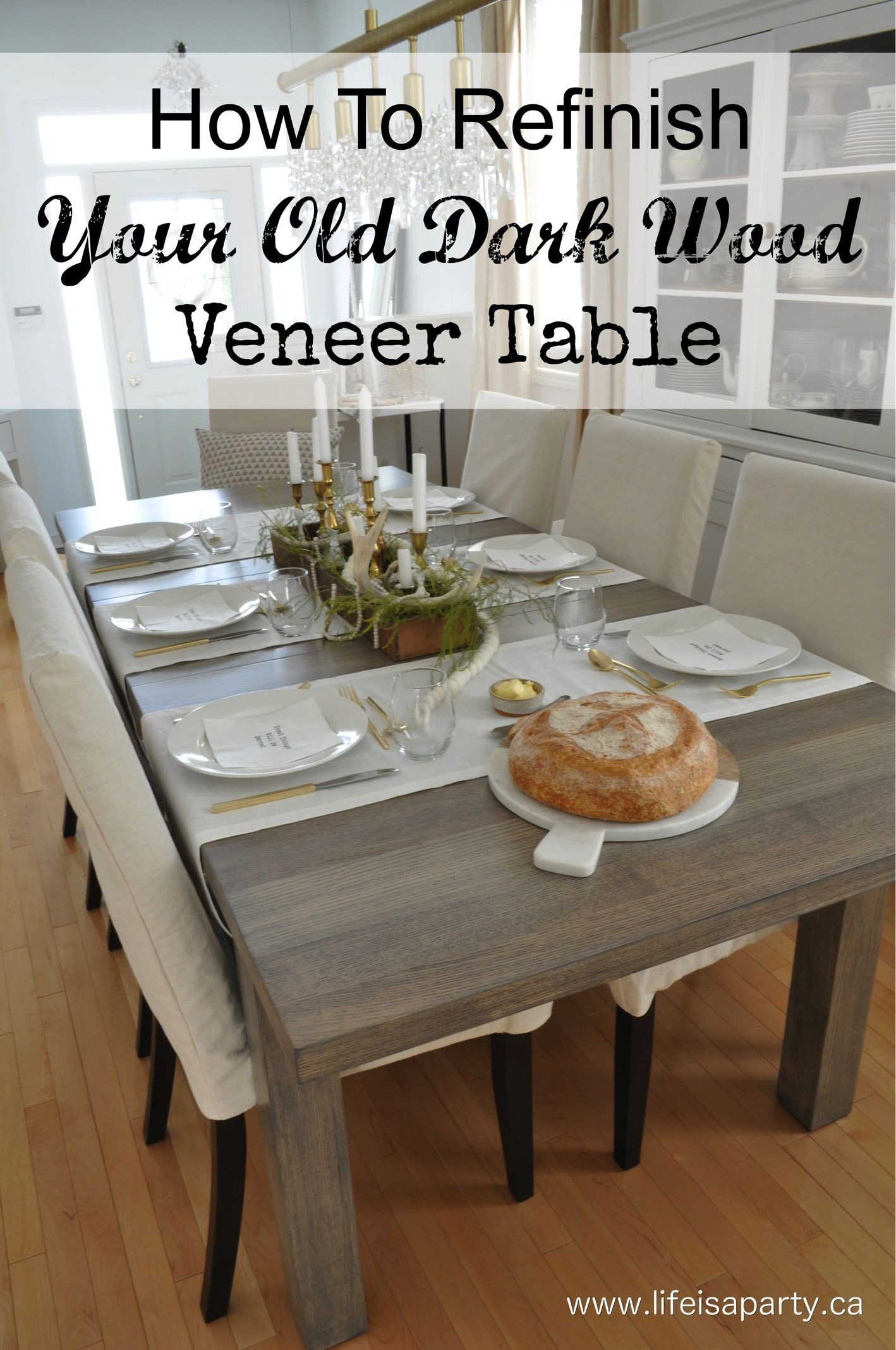 How To Refinish A Dining Room Table Veneer Top Tutorial On How To Refinish Your Dark Wood In 2020 Wood Dining Room Table Kitchen Table Wood Refinishing Kitchen Tables