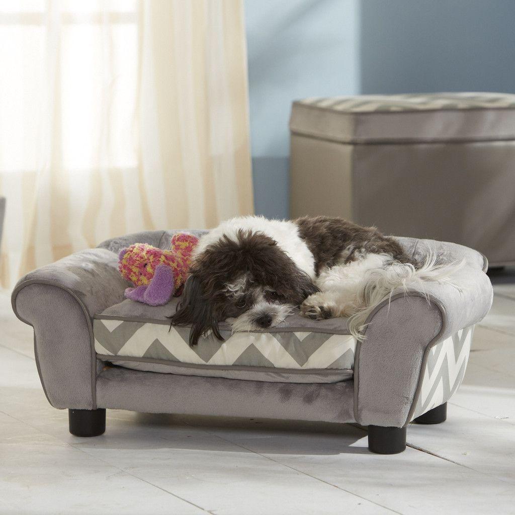 Grey Chevron Pet Sofa Bed designer pets puppybed Dog