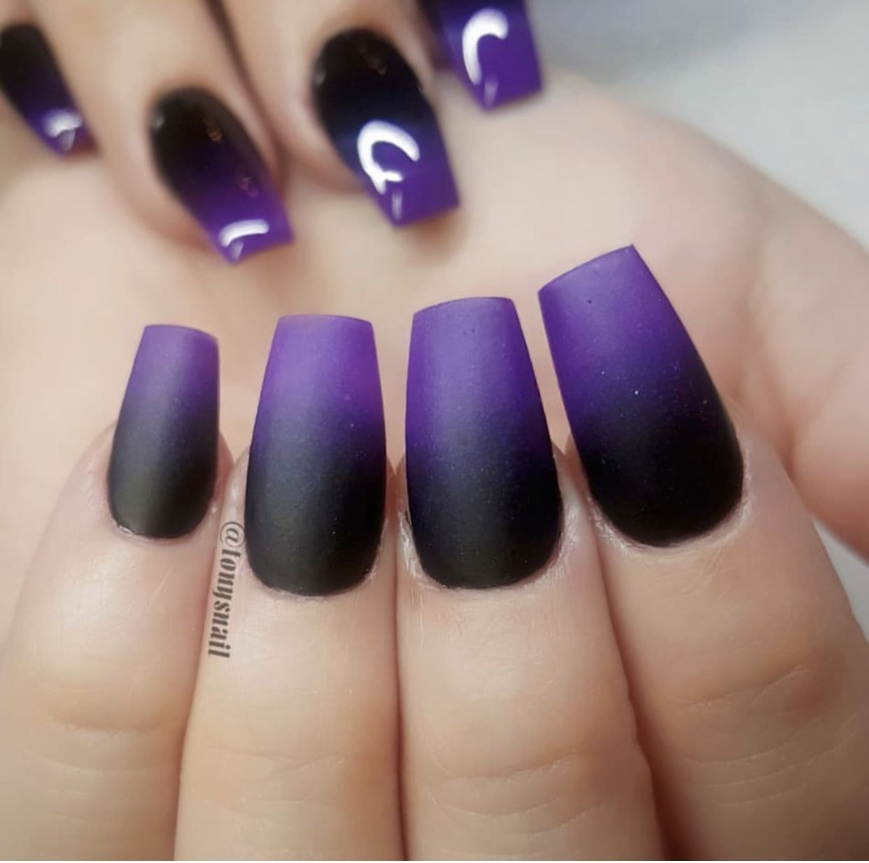 Pin By Mirian On Nails Purple Ombre Nails Purple Nail Designs Purple Nails