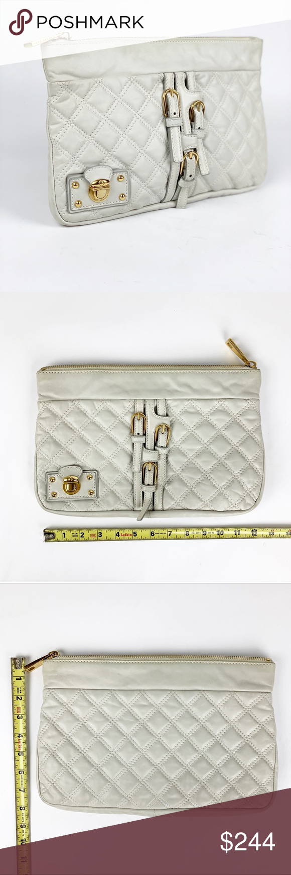 36e65f5dff0d0 Marc Jacobs Large Quilted Ivory Clutch Leather Brand Marc Jacobs Model  ivory quilted leather clutch Color