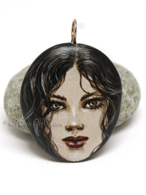 Girl portrait hand painted on stone pendant: original acrylic painting on stone, unique art jewellery by Magics of Creation
