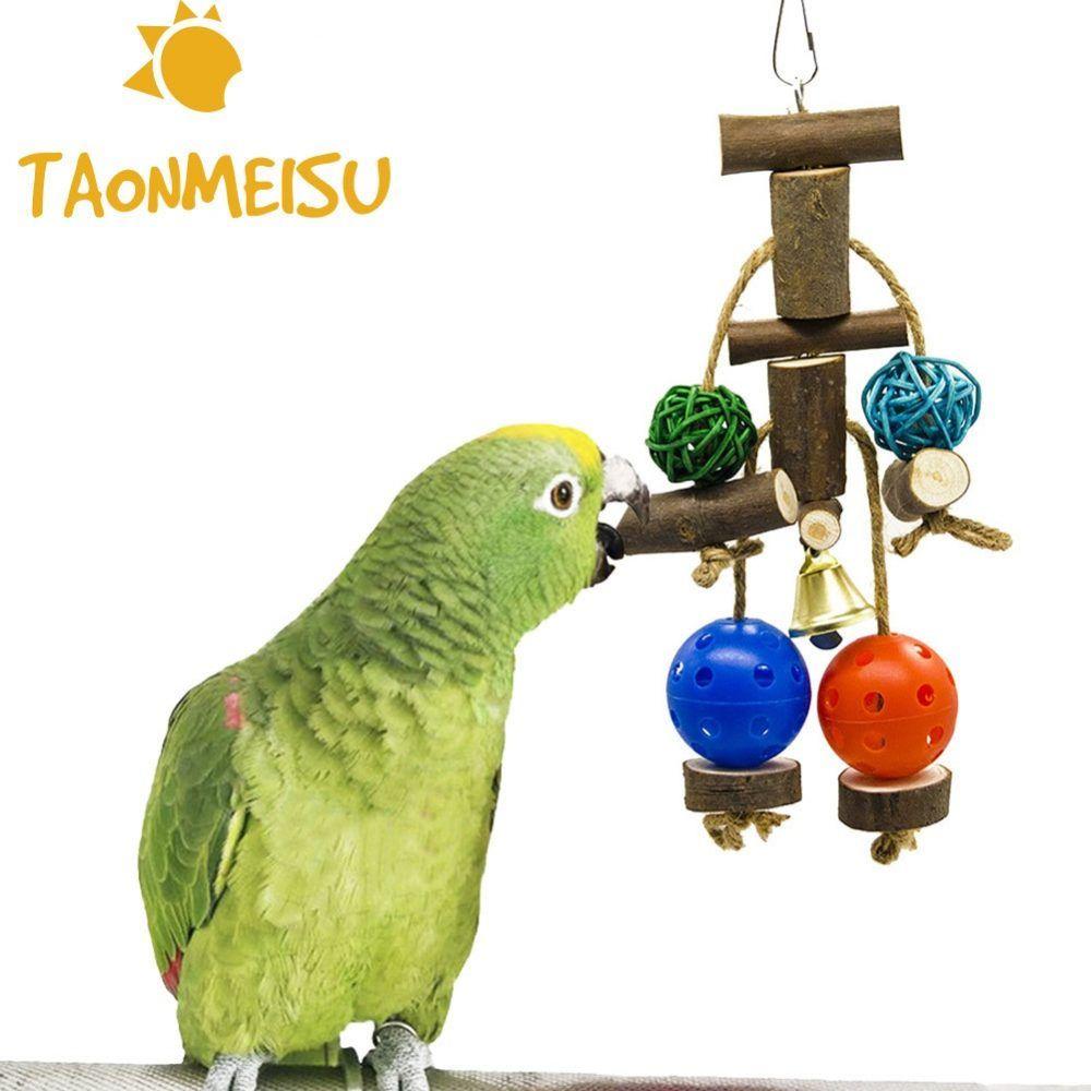 Birds Parrot Toys Wooden Bells Swing Cockatiel Pet Hanging Toy Accessories