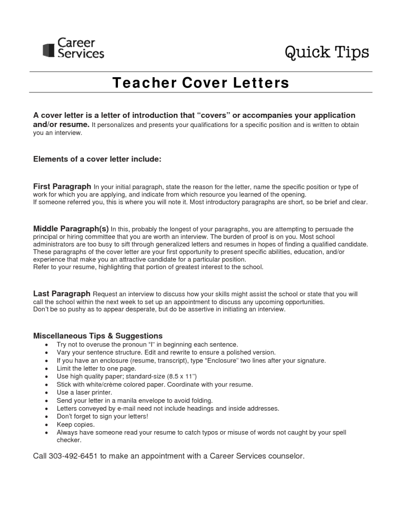 Cover Letter Examples For Teachers With No Experience