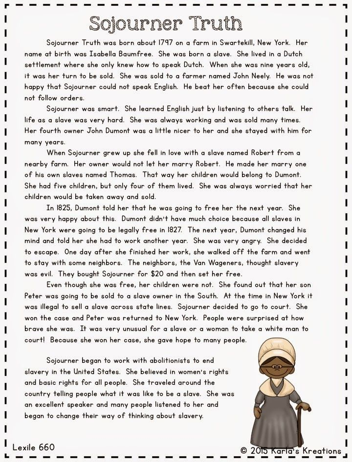 Informational text about important people in Civil War Sojourner – Frederick Douglass Worksheets