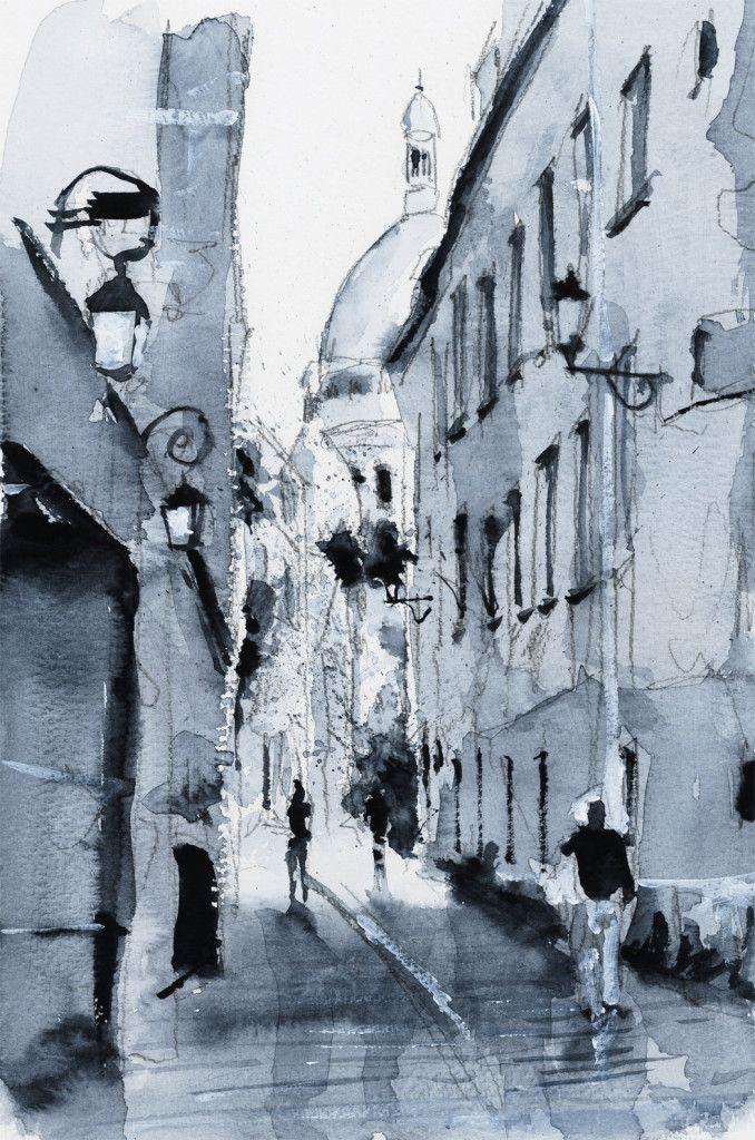 Ruelle paris watercolor painting aquarelle by for Pinterest aquarell