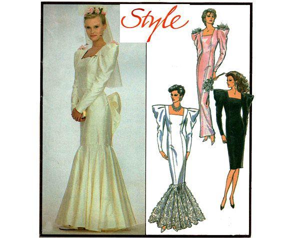 80s Fishtail Mermaid Sheath Wedding Dress Pattern Style