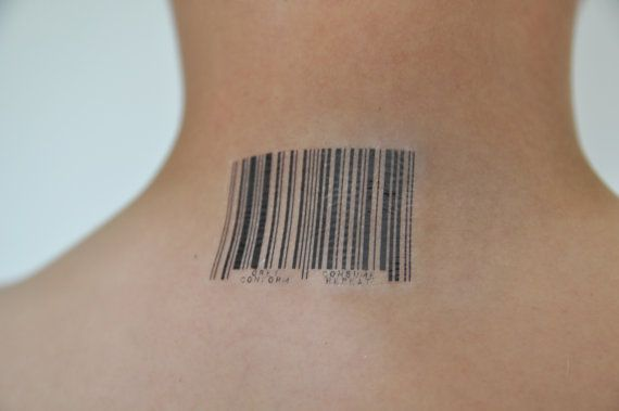 """Here we have a barcode temporary tattoo! Underneath the barcode reads: """"Obey, Conform, Consume, Repeat"""". This was hand designed by Jordan Poulos."""