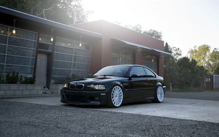Download wallpapers BMW M3, black coupe, white wheels, tuning m3