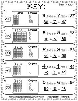 TEN AND ONES MAT COUNTERS N WORKSHEET WINTER THEME