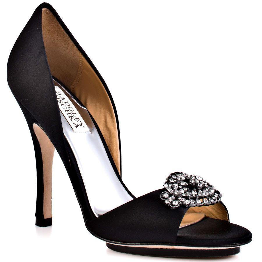 badgley mischka shoes | Badgley Mischka Gia Black Satin Shoes