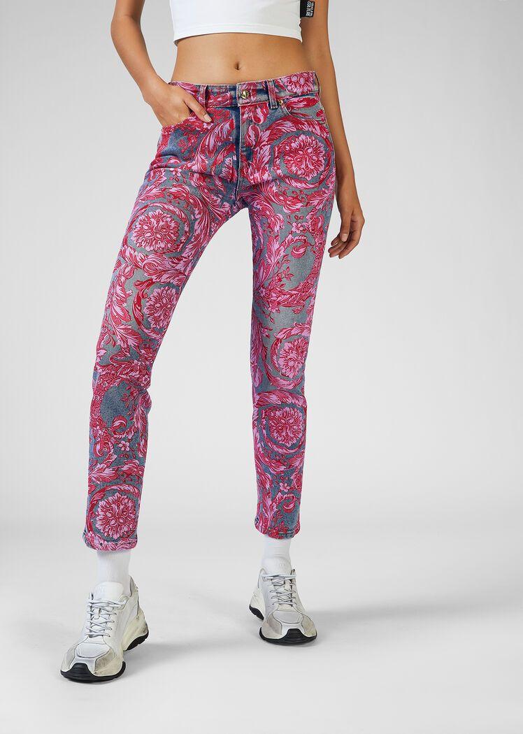 Versace Jeans Couture Vaqueros Con Estampado Baroque Para Mujer Tienda Online Eu Versace Couture Pantalones Estampados