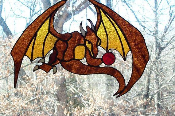 Stained Glass Dragon Window Art Sun Catcher
