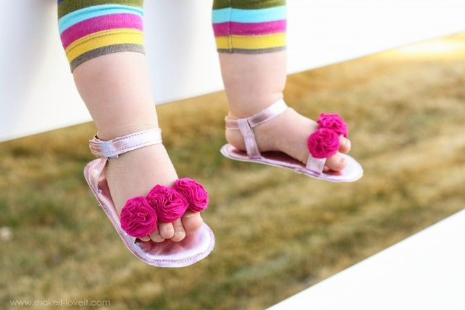 Baby Girl Flower Sandals A Simpler Version Made With Re Purposed