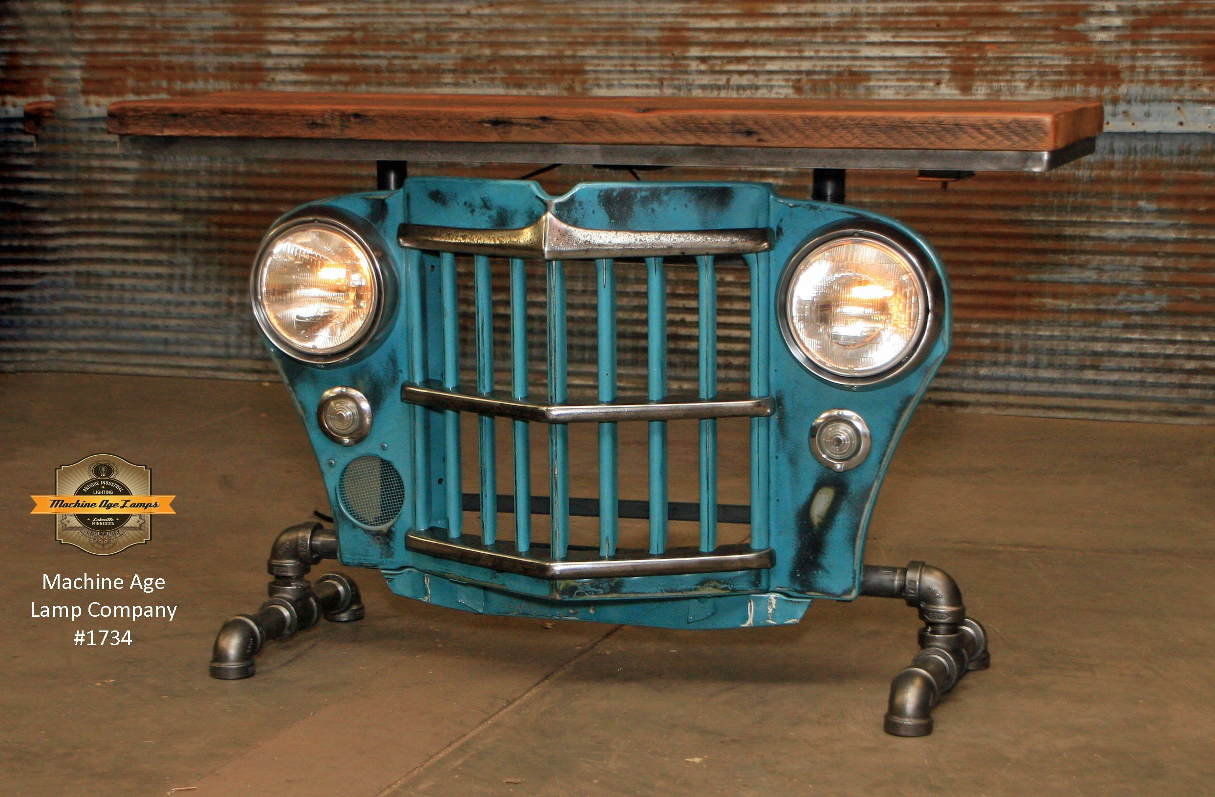 Steampunk Industrial Original Vintage 50s Jeep Willys Grille Jeeps On Filter Box Table Sofa Hallway 1734