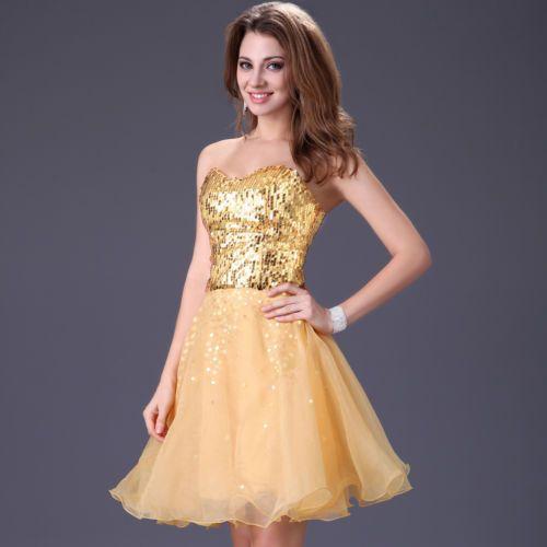 Short gold prom dress ebay