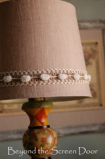 How to recover a lamp shade neutrals pom poms