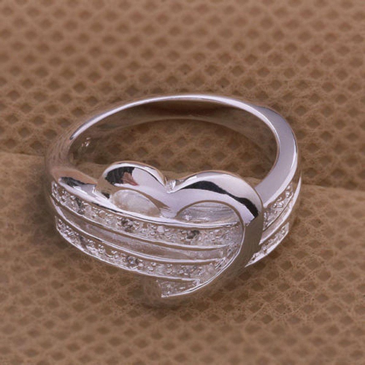 ring 925 sterling silver heart wedding