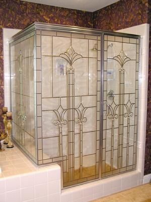 Shower Door With 2 Panels With Leaded Glass Overlay Design Shower Door Designs Shower Doors Glass Shower Doors