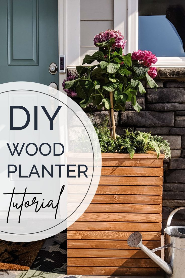 Learn how to make a modern wood planter box. This outdoor planter is a great way to add warmth and plants to any front porch or patio. #planter #planterbox #outdoorliving #frontporch #diyproject