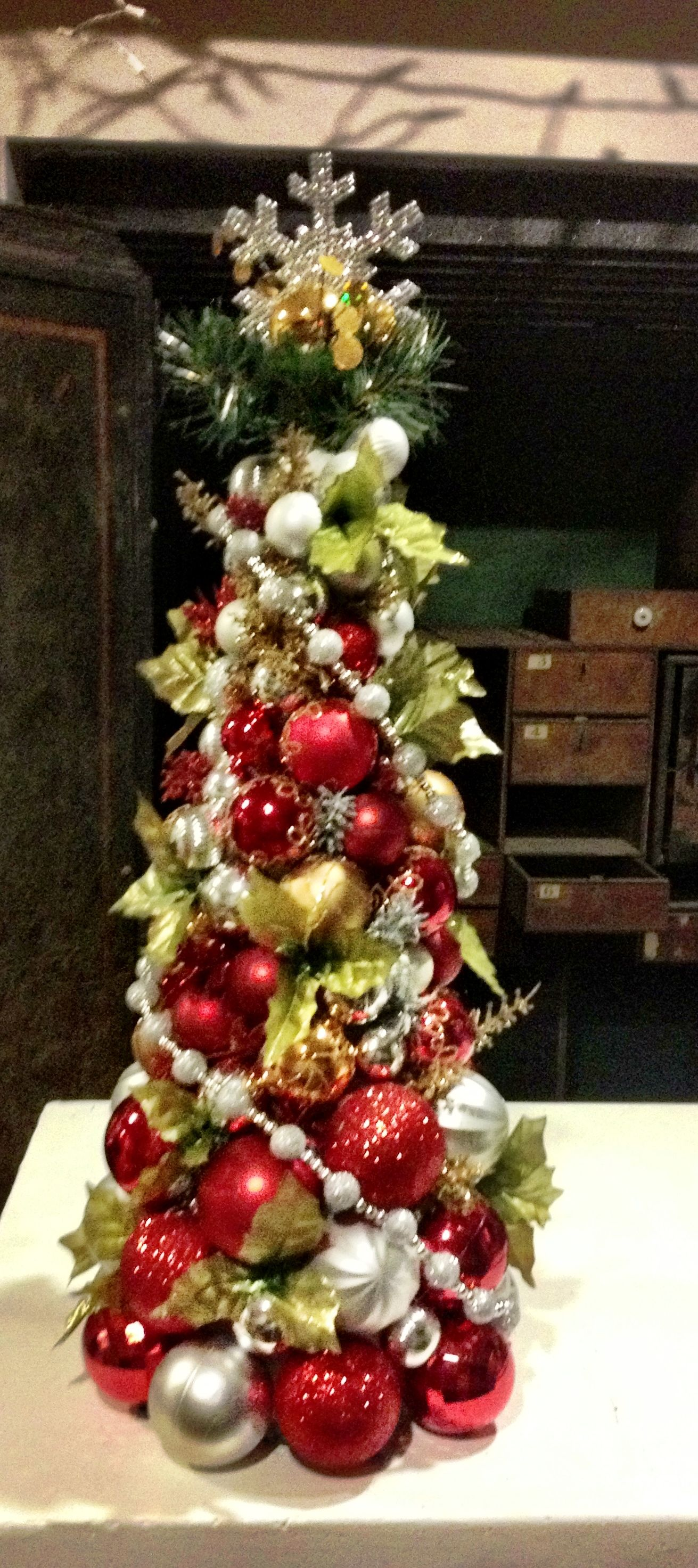 Christmas Ball Tree Easily Made With A Styrofoam Cone And Hot Glue To Glue Assorted Xmas Balls Christmas Tree Decorating Tips Christmas Diy Diy Christmas Ball