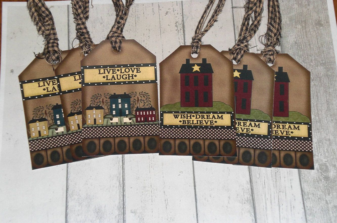 6 Primitive Hang Tags Gift Ties - Salt Box - Sheep - Star - Wish Dream Believe Live Love Laugh - Scrapbooking Black Homespun Fabric Ties by ChooseMoose on Etsy