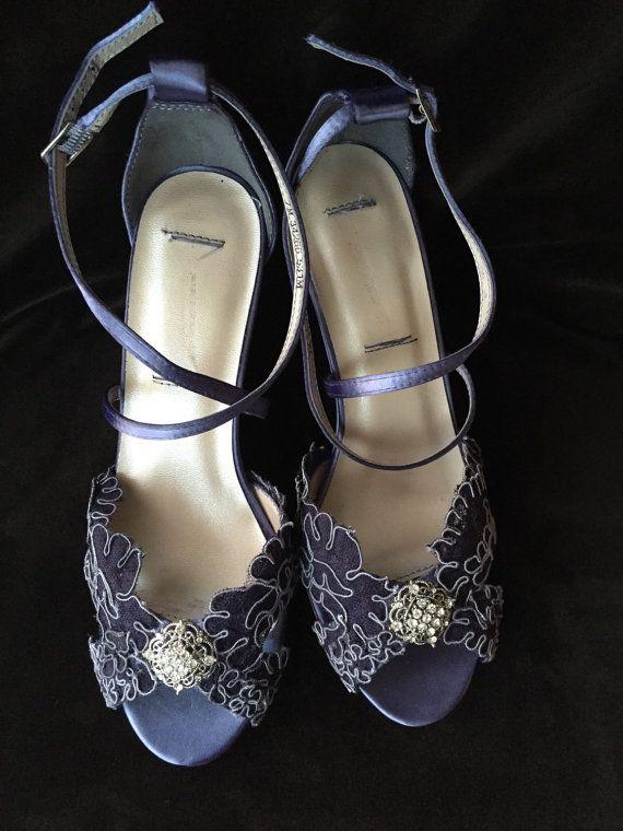 084286db3d4 Navy Alencon Lace 3.5 inch Wedge Heel Wedding by YvesBellaBrides ...