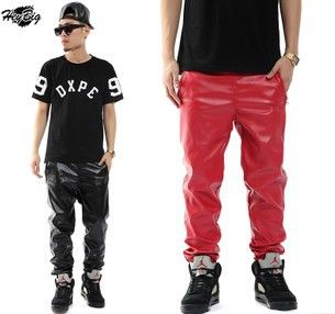 9840434fa9a25 hip hop men leather pants leather swetpantsfaux leather jogging pants black  red jogger big size 28 to 40  19.99