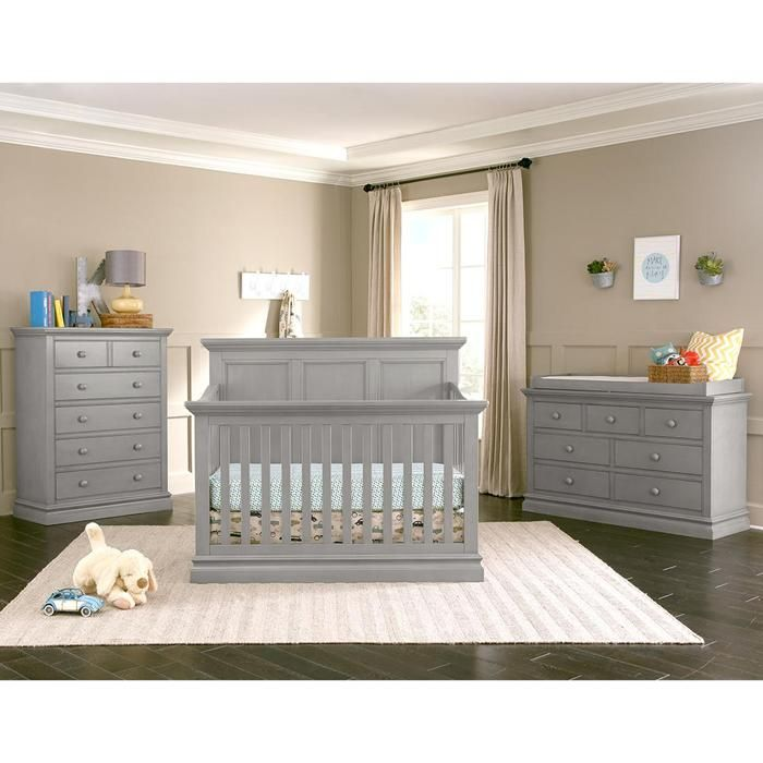 Pine Ridge 4-In-1 Convertible Crib Dresser and Hutch in Gray ...