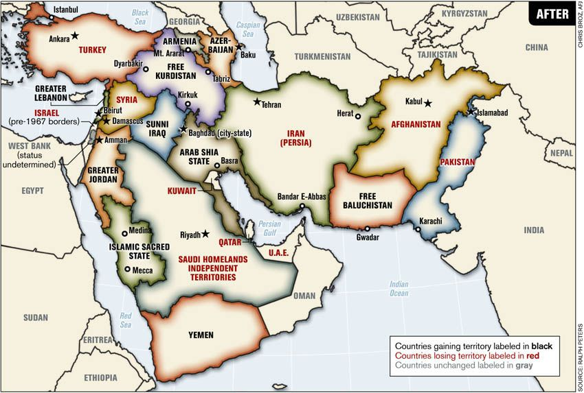 This is George Bushu0027s map of the new Middle East It was published - new world map kuwait city