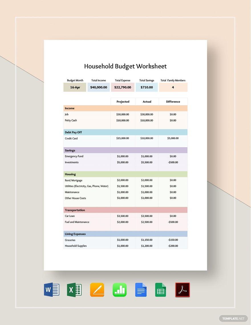 Household Budget Worksheet Template Word Excel Google Docs Apple Pages Google Sheets Apple Numbers Pdf In 2020 Budgeting Worksheets Household Budget Worksheet Budgeting