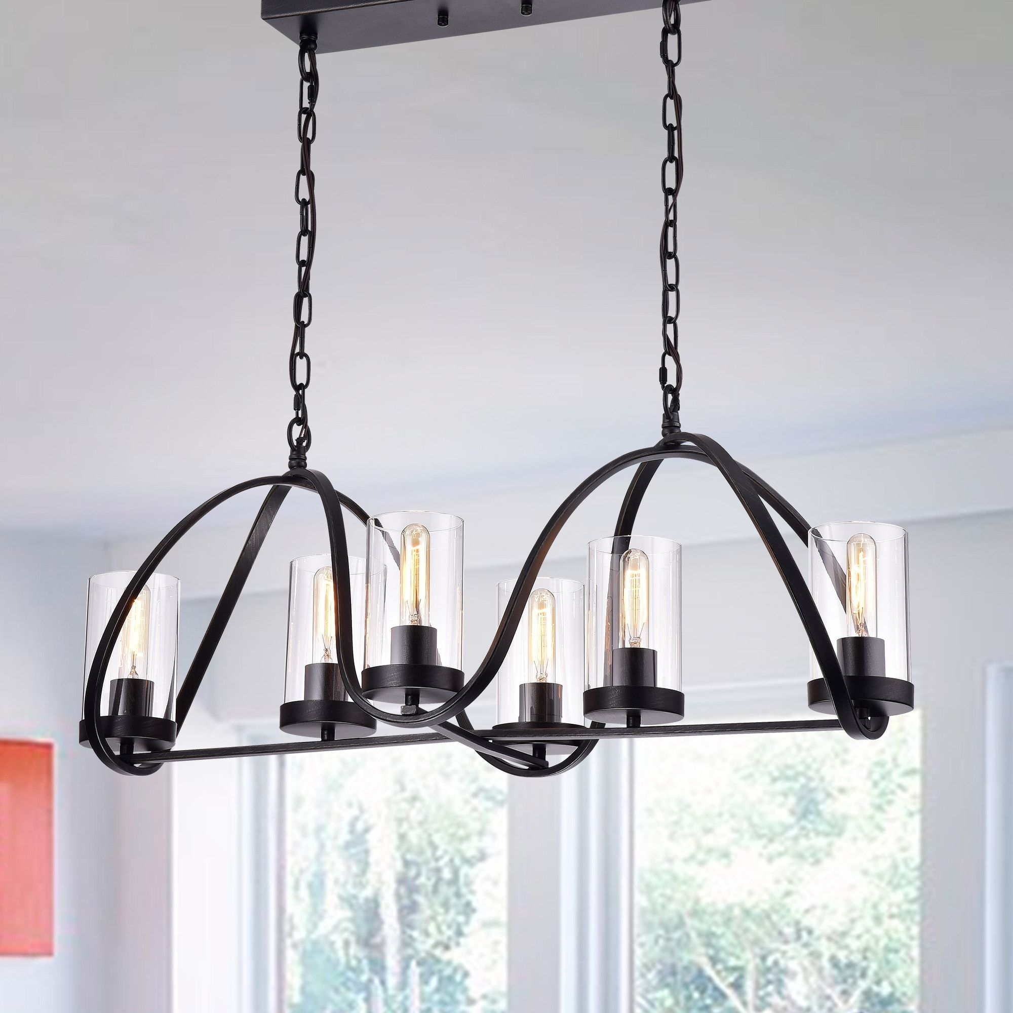 Daniela Antique Black Iron 6 Light Chandelier With Rectangular Base And Clear Glass Cylinder Shades