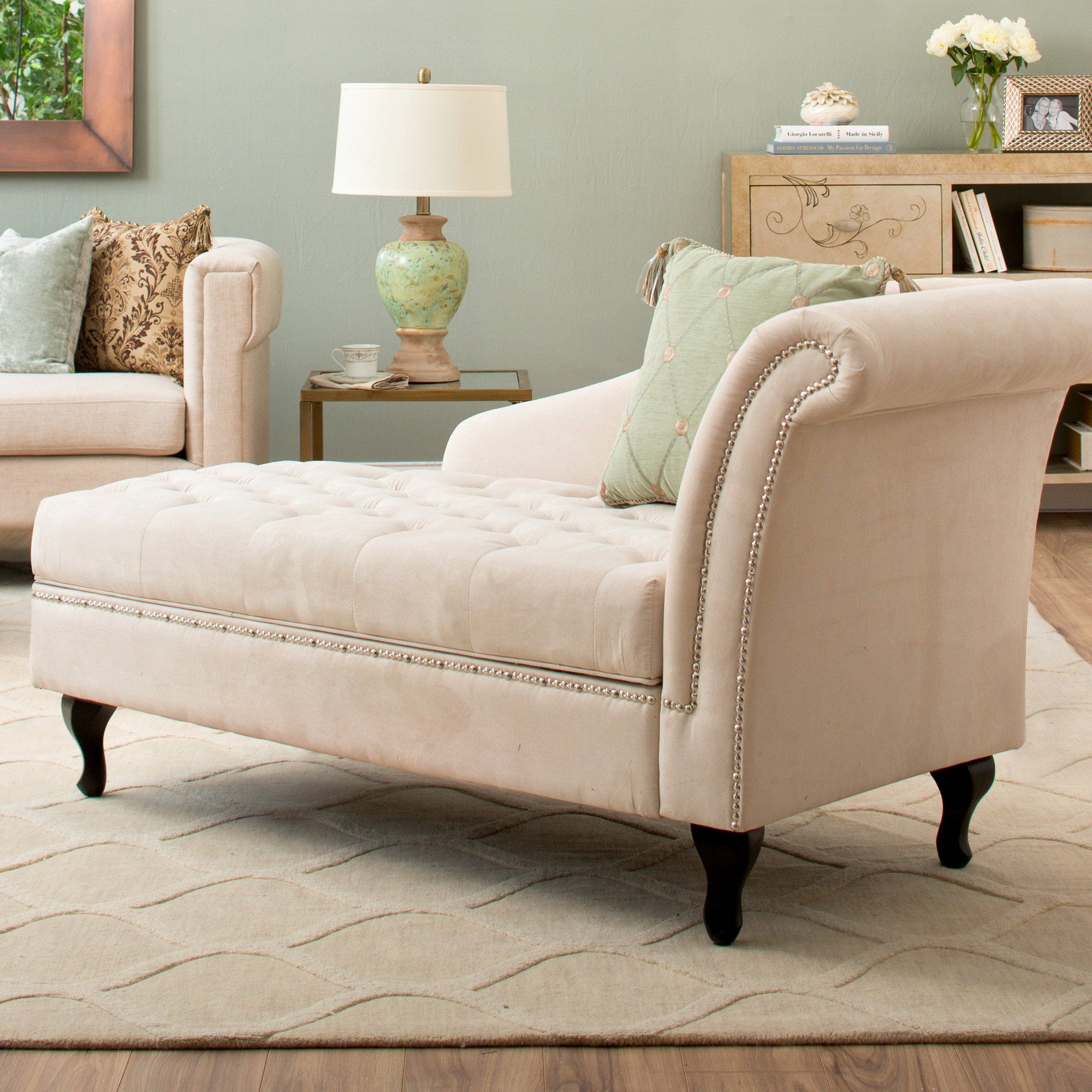 Storage Chaise Lounge Luxurious Tufted Classic/traditional
