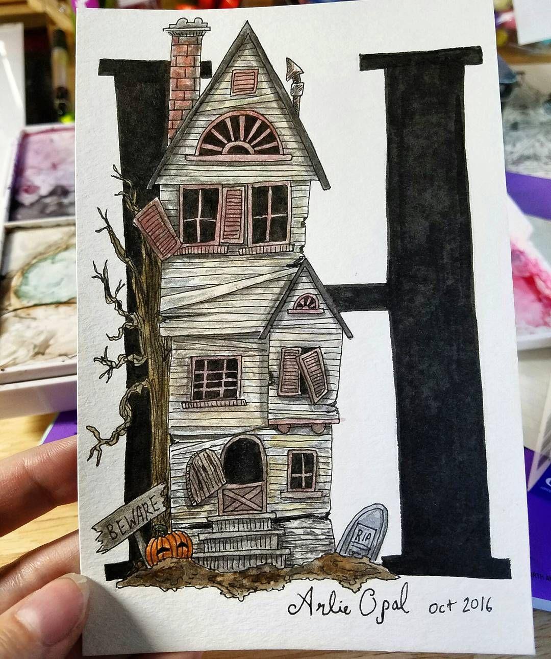 Halloween Alphabet Letter H For Haunted House Inktober